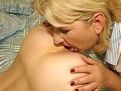 Old and young lesbians eating ass and licking pussy