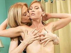 Lesbian babes NinaHartley and Ariel X play with each other in this erotic sex scene