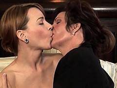 Brunette MILF Seduces Her College-Age Friend By Sucking Her Pussy