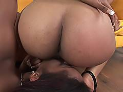 Large ebony boobies and juicy butts of three adorable black lesbians having a fuck