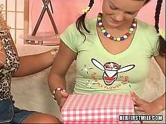 The action quickly unfolds when this young girl opens a box full of dildo.... Georgina