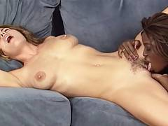 Ebony beauty Monique licks hot Heather Silk's tight little pussy in these video clips