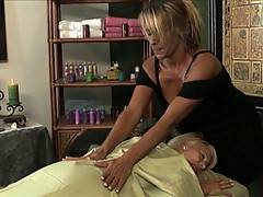 Two hot amateur lesbians massage each other sensually