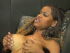 Two sexy black bitches with huge tits take turns stuffing each other with their dildos