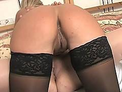 Good looking young blondie gets it on with mature lady