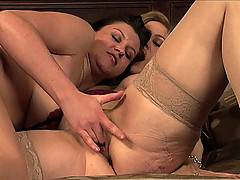 Nina Hartley and Sara Stone are hungry for pussy in this lesbian scene